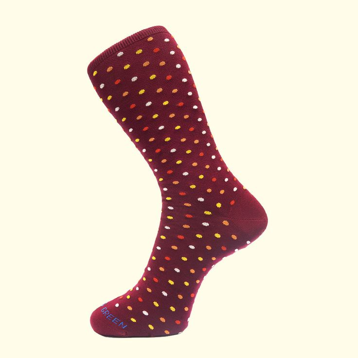 Microdot Pattern Sock in Burgundy