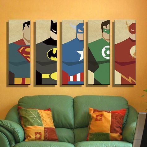 Pintura Al Óleo Lienzo Súper Héroe Superman Batman Dibujos Animados Modular Decoración Decoración Moderna de La Pared Cuadros Para la Sala