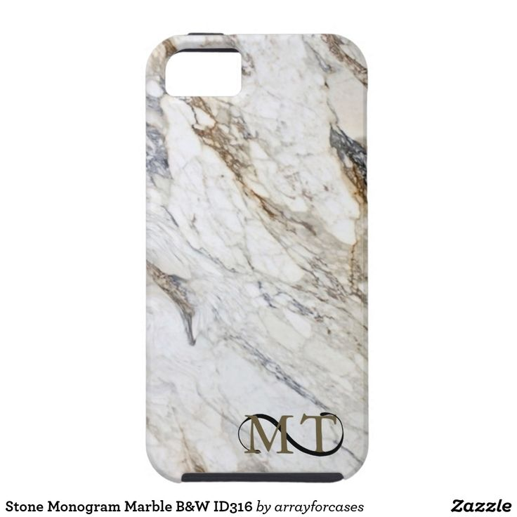 Stone Monogram Marble B&W  iPhone SE/5/5s Case Enhance your phone with this cool stone look. This design features a print of black and white marble with gold veining for a sleek, luxurious effect. Monogram is optional and may be deleted if a solid stone look is preferred. Search ID316 to see other products with this design.