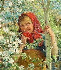 Smilende pige under blomstrende frugttræer by Fedot Vasilievich Sychkov