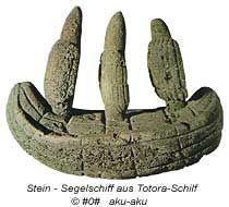 Stein Segelschiff, Darstellung aus Totora-Schilf