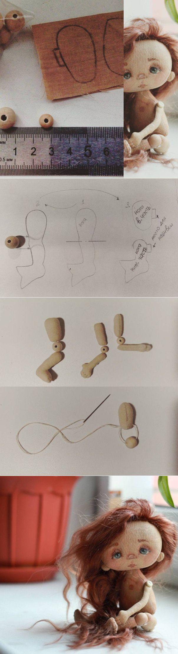 Шарнирное крепление рук и ног текстильной куклы через бусину..