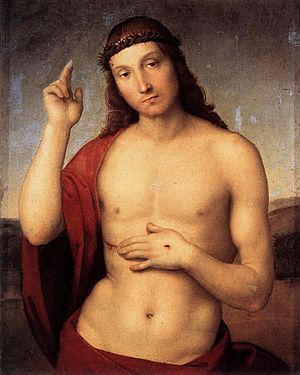 Christ Blessing - Raphael.  1505.  Oil on wood.  30 x 25 cm.  Pinacoteca Tosio Martinengo, Brescia, Italy.