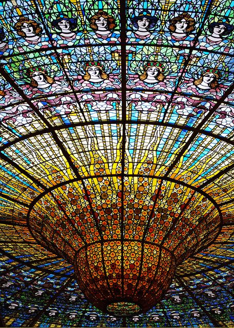 The Dome at Palau de la Musica Catalana in Barcelona, Spain
