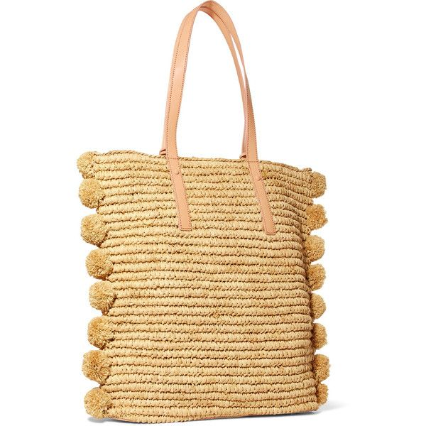 Loeffler Randall Cruise pompom-embellished leather-trimmed straw tote (15 585 UAH) via Polyvore featuring bags, handbags, tote bags, beige tote, straw purse, straw handbags, pom pom straw tote и beach tote bags