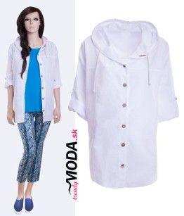 Biela dámska letná košeľa s kapucňou - trendymoda.sk