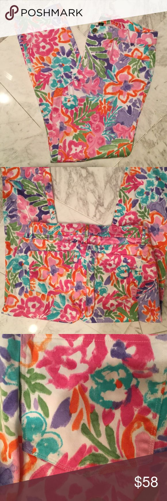 Ladies Ralph Lauren floral stretch pant Ladies beautiful floral stretch jean style pant . White background with pink, turquoise, orange, purple flowers. Very pretty print and perfect for spring summer months. Cotton spandex blend so they will keep their shape during a busy days worth of activities...10 full length worn once Lauren Ralph Lauren Jeans Skinny