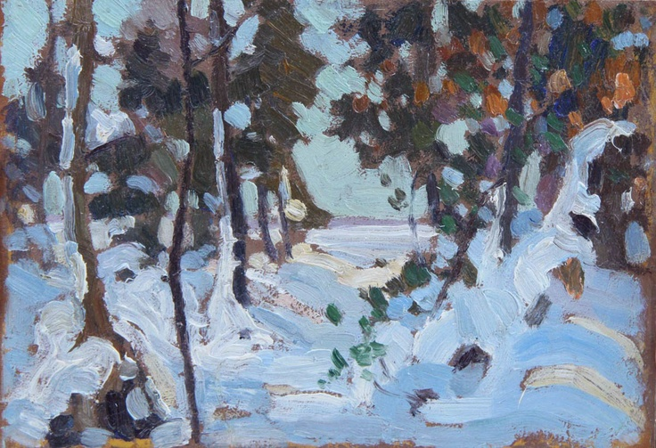 'Early Snow', 1915, oil on panel by Franklin Carmichael at Mayberry Fine Art