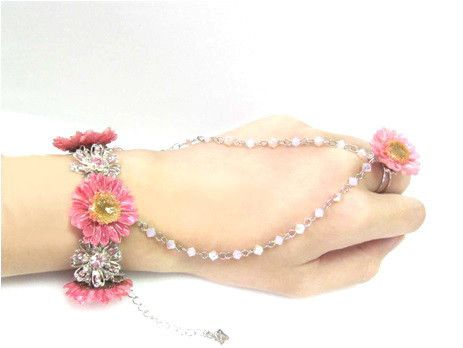 Daisy Daisy Crystal real daisy Bracelet Sarah Blue real flower jewellery collections