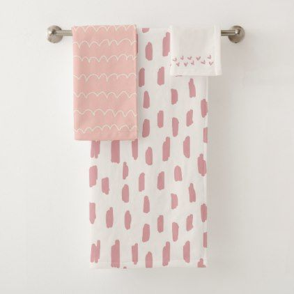 Pink abstract pattern bath towel set - pattern sample design template diy cyo customize