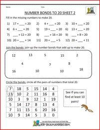 2nd grade math worksheets number bonds to 20 2