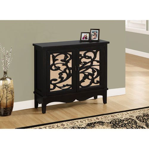 Accent Chest - Antique Black / Mirror Traditional Style
