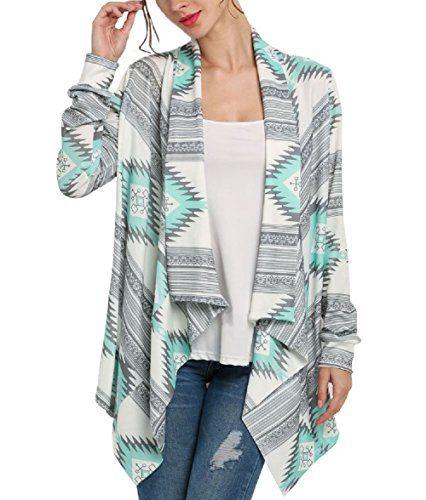 Cardigan Asymetrique Femme Boheme Chic Veste en Tricot Motif Géométrique Imprimé  Manteau Automne à Manches Longues Jacket Outwear Gilet Ouvert Fluide ... 4b4a383a844b