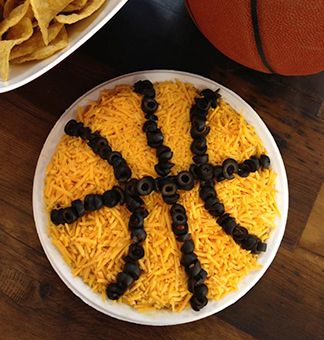 Basketball Bean Dip -  an easy appetizer to bring to your March Madness party with friends or at the office!