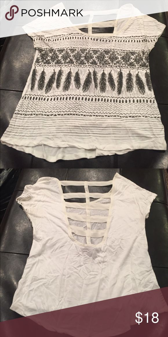 Aztec white blouse Aztec blouse with super cute back cut out! Super comfy and adorable on Tops Blouses