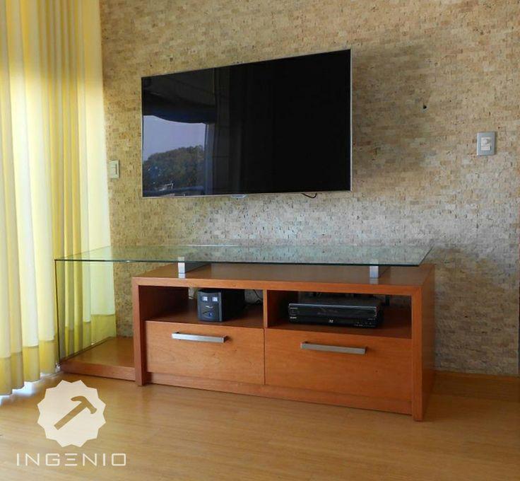 Mueble equipos de tv y sonido aglomerado de enchapado en for Muebles para televisor y equipo de sonido