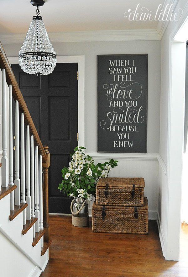 stairwell, baskets, chalkboard