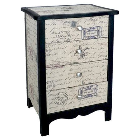 Four-drawer accent chest with a carte postale motif.  Product: ChestConstruction Material: WoodColor: Black and whiteFeatures:  Carte postal printFour drawers Dimensions: 27.25 H x 17.75 W x 13 D