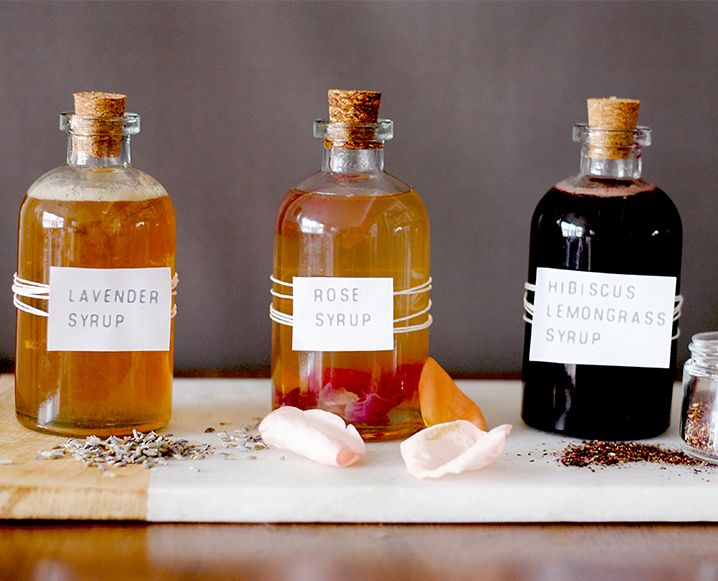 A DRINKABLE BOUQUET: 3 FLORAL SYRUPS FOR SPRING COCKTAILS: Drinkabl Bouquets, Floral Syrups 1 Jpg, Syrup Check, Floral Syrup 1 Jpg 718 581, Pure Drinks, Spring Cocktails, Diy Floral Syrup, Chalkboards Mag, Diy Syrup