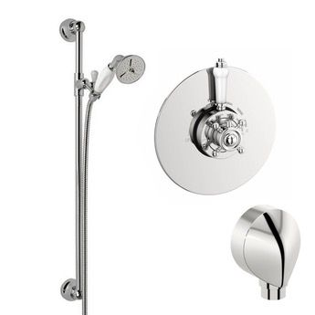 The Bath Co. Traditional thermostatic shower valve and shower riser rail set