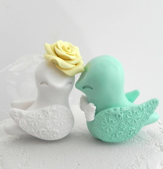 Love Birds Wedding Cake Topper White Mint Green and by LavaGifts