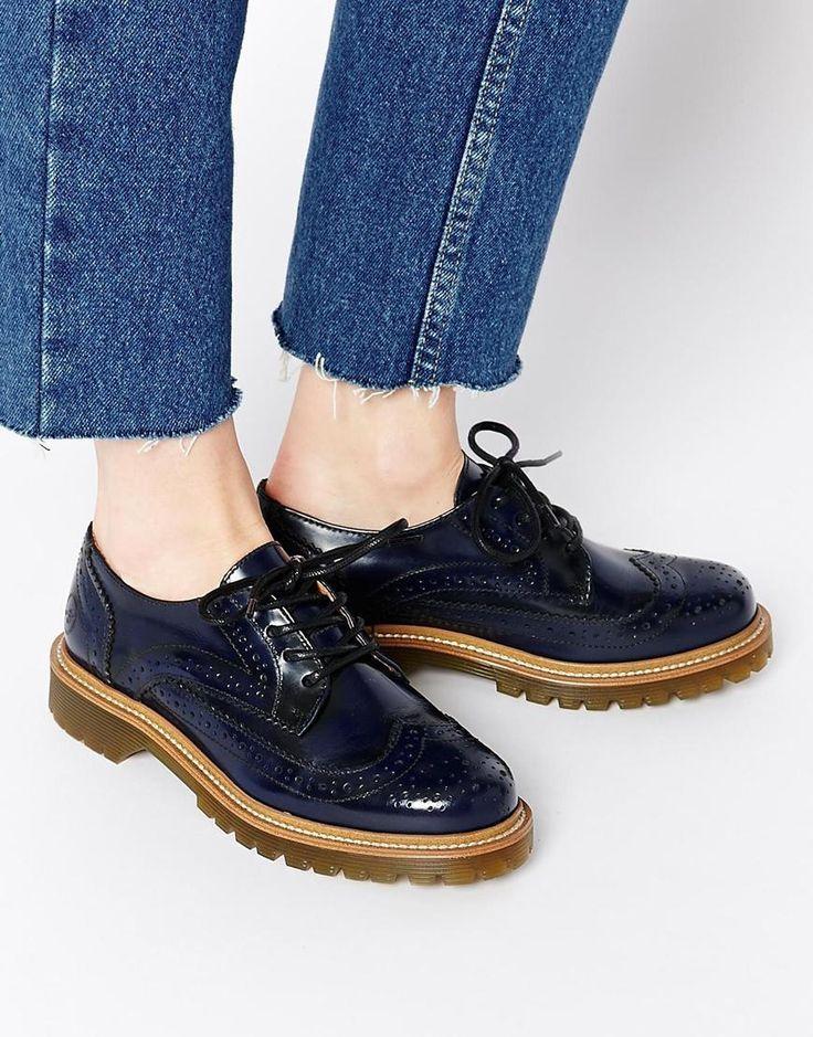Bronx Navy Brogue Flat Shoes