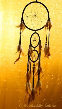 The Native American Dreamcatcher meaning. The dreamcatcher will help you get a peaceful sleep with only good dreams. Nightmares get trapped in the web.