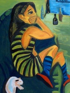 Girl with cat on the couch. Oil paint study after Marcella painted by Ernst Ludwig Kirchner.
