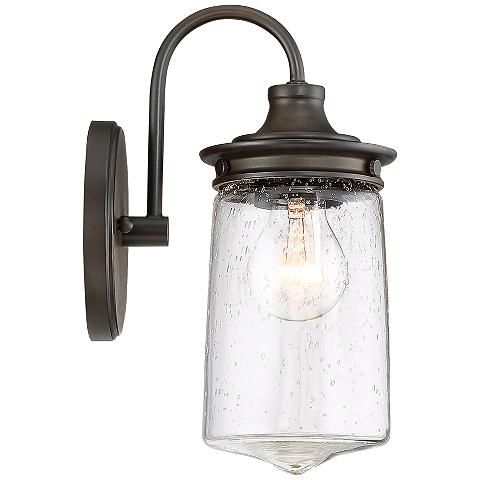 """Tonopah 10 1/2"""" High Seedy Glass and Bronze Wall Sconce - #33F49   Lamps Plus"""