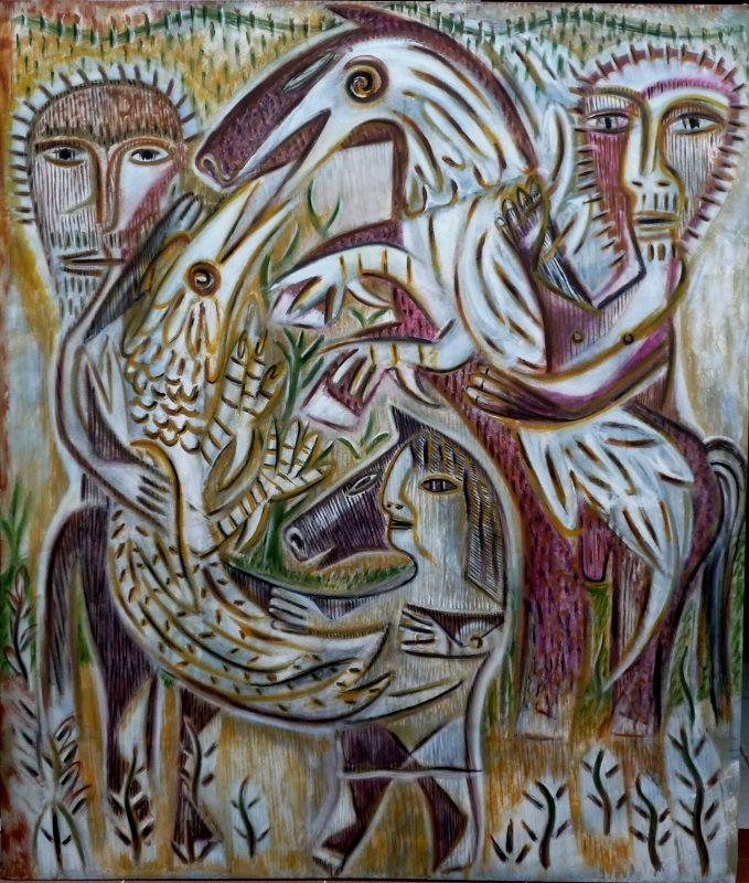 Los galleros 130 cm x 110 cm Acrílico-Tela 2011 6.000€  #arte #art #cuban #EverFonseca