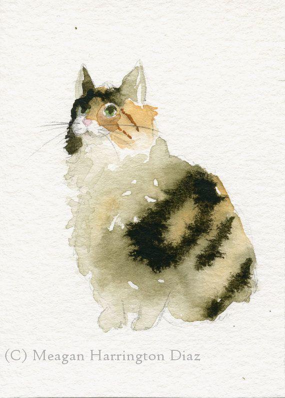 Cat Art - Calico Cat - Kitty Watercolor - Fine Art Print - Cat painting - black…