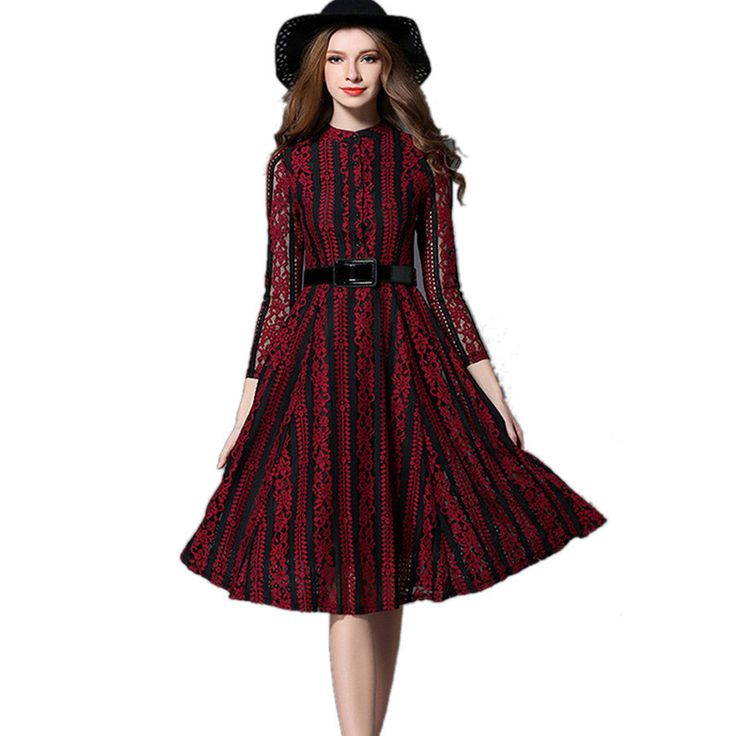 ==> [Free Shipping] Buy Best Luxury Runway Dresses 2017 Women High Quality Autumn Green Red Lace Dress Long Sleeve Vntage A line Dresses Party Vestidos Belt Online with LOWEST Price | 32787285263