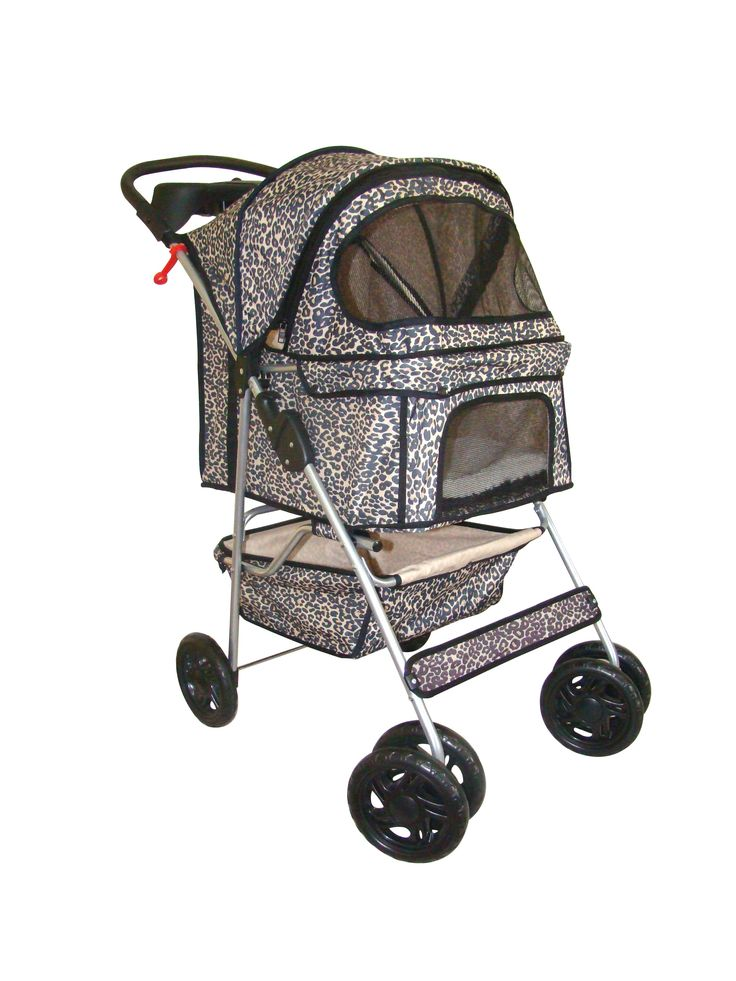 Leopard Print 4 Wheels Dog Stroller (BestPet)
