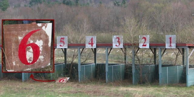 Starting gates at decrepit horse racing track with close-up of hand-painted gate sign, Great Barrington, Massachusetts [1996x998] [OC]