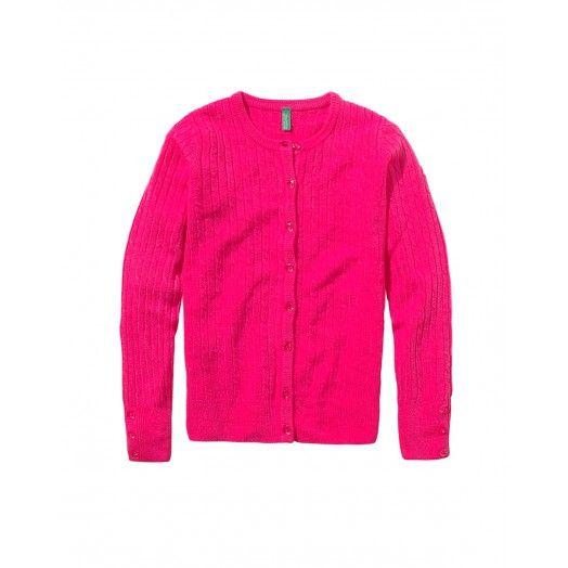 Cardigan lavorato a trecce, maniche lunghe girocollo.12EGC5036 pink