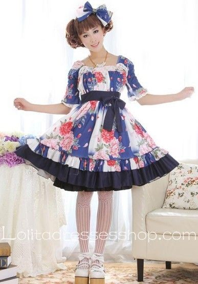 Skyblue Lace Square-collar Short Sleeve Floral Lolita Dress