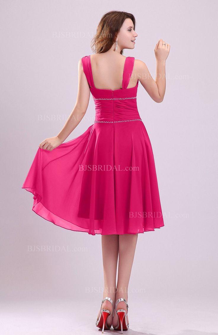 The 25 best fuschia bridesmaid dresses ideas on pinterest fuschia bridesmaid dress cute a line sleeveless chiffon knee length ruching ombrellifo Choice Image
