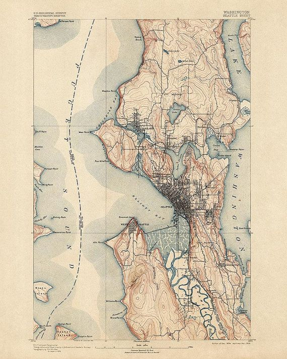 Antique Map Of Seattle Usgs Topographic Map Archival Reproduction