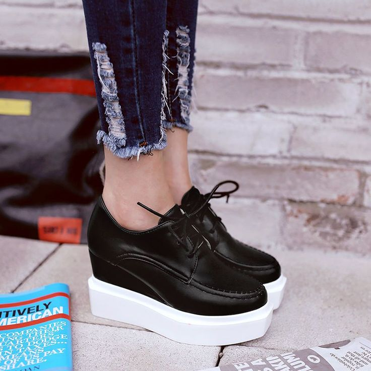 Casual Womens Platform Lace Up Creeper Faux Leather Wedge Heels Outdoor Shoes #outdoorshoes