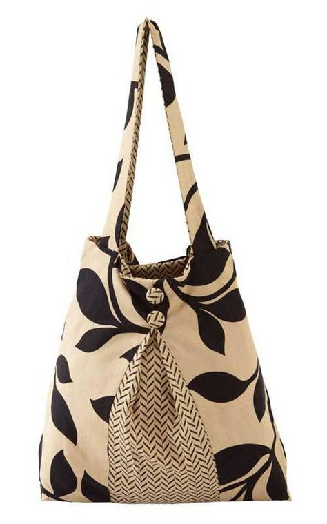 Use classic black and tan prints, or even your favorite coordinating fabrics, to make this casual but elegant tote bag.