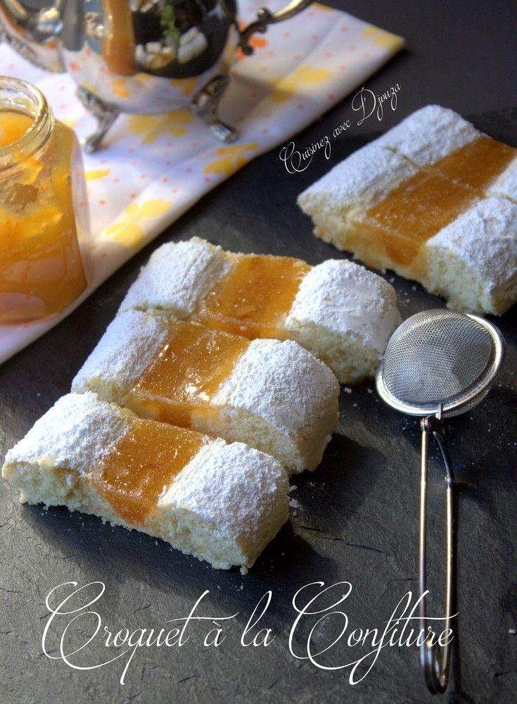 Une version de croquet très présentable, bien moelleux garni de confiture d'orange et citron, et myrtille. Et pour des croquets faciles à découper, la confiture