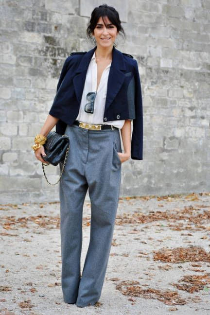 Offset a pair of oversized menswear trousers with a cropped and tailored wool jacket.