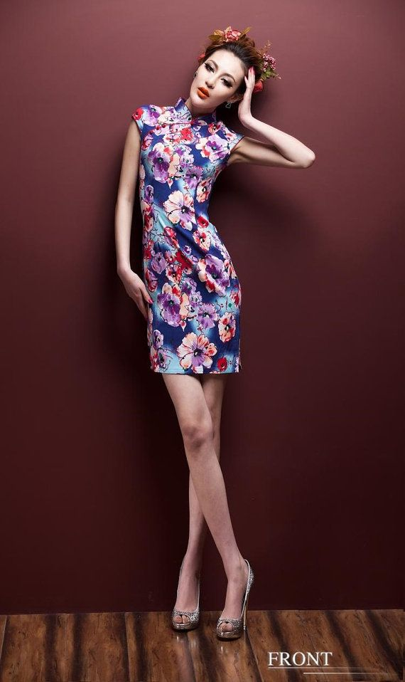 Casual women dress for Spring and Autumn - Blue Pink floral blossom - short sleeve women clothing cheongsam qipao dress