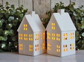 Domek świecznik lampion ceramika biały