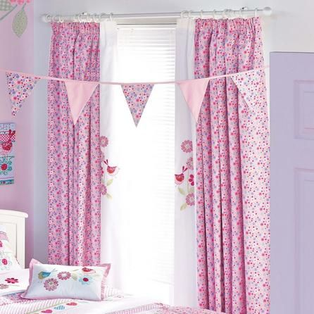 Dunelm Kids Pink Songbird Lined Pencil Pleat Curtains in W 168cm (66'') x Drop 182cm (72'') Size