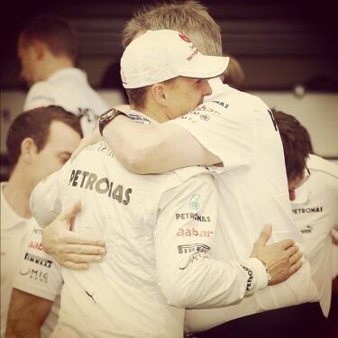 the team pricipal, Ross hugging Schumacher good bye :)    via - twitter| @MercedesAMGF1