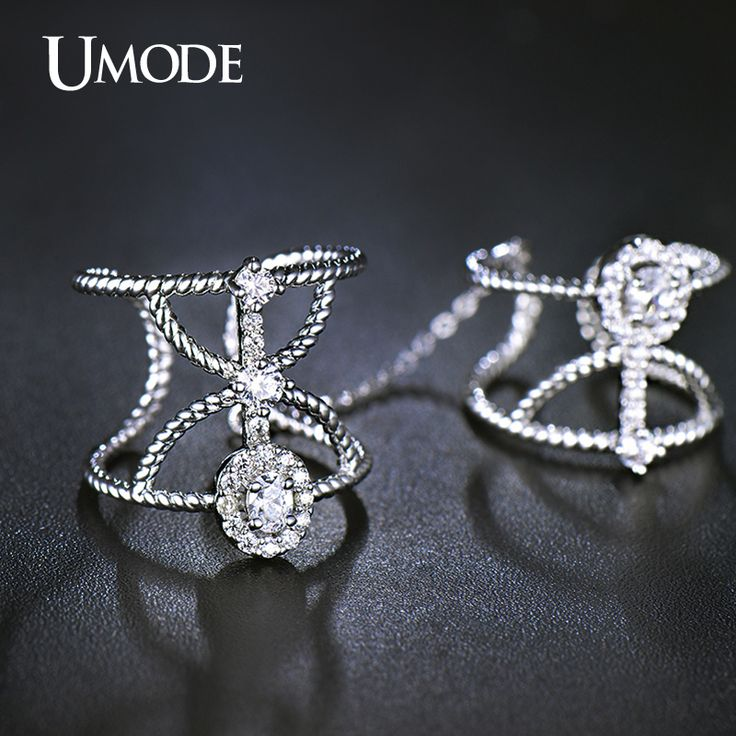UMODE Resized Twisted Halo CZ White Gold Plated Simulated Diamond Two Finger Rings With Chain Jewelry for Women Anillos UR0267-in Rings from Jewelry & Accessories on Aliexpress.com | Alibaba Group