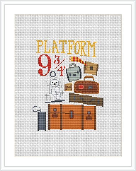 Platform 9 3/4 Cross stitch pattern Harry Potter cross stitch PDF Instant Download Counted cross stitch chart Hogwarts Express X226