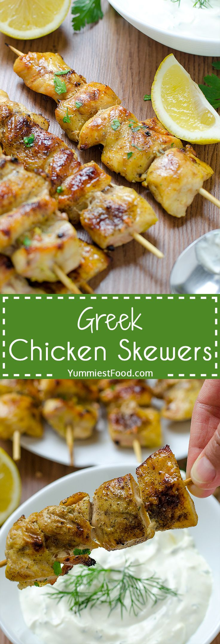 Quick and Easy Greek Chicken Skewers with Homemade Tzatziki Sauce! Bite sized pieces of flavorful Tzartziki sauce! This recipe is perfectly delicious and it is ideal for these summer days! Greek Chicken Skewers with Homemade Tzatziki Sauce - Easy to cook and easy to love!
