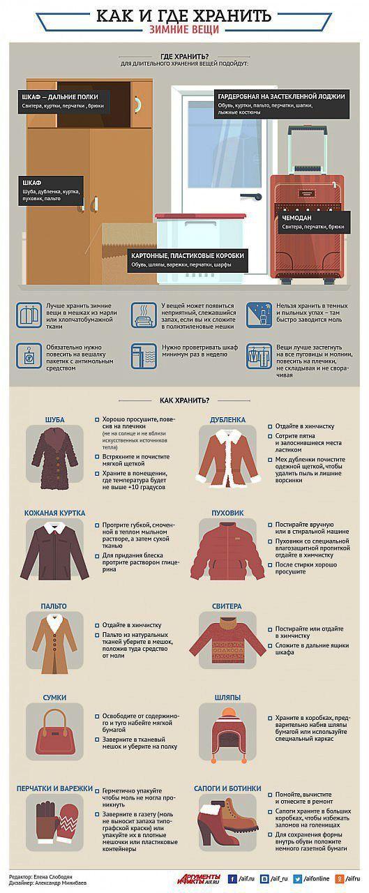 Где и как хранить зимние вещи? Инфографика   Полезные инструкции от aif.ru   полезные советы   Постила
